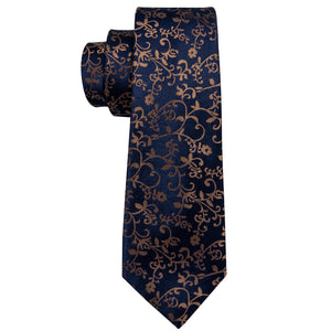 Unique Golden Yellow  Floral Men's Tie Set