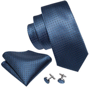 Blue Floral Plaid Men's Tie Pocket Square Cufflinks Set