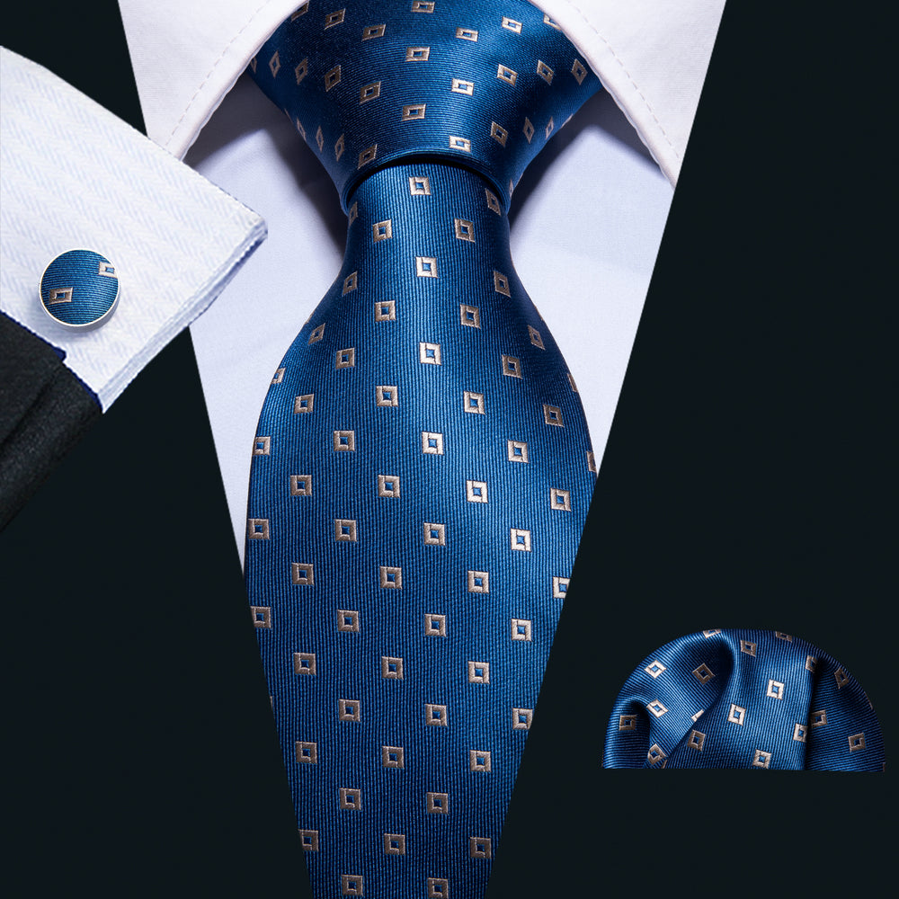 Blue Golden Geometric Pattern Tie Pocket Square Cufflinks Set