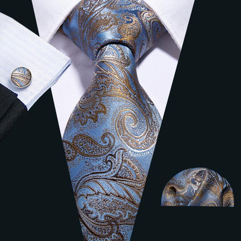 Attractive Blue Brown Paisley Men's Tie Pocket Square Cufflinks Set