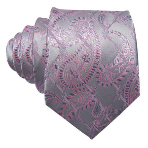 Pink Grey Paisley Men's Tie Pocket Square Cufflinks Set
