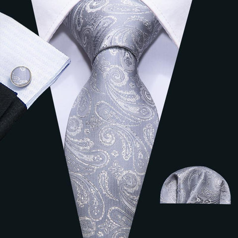 Silver Grey And White Paisley Men's Tie Pocket Square Cufflinks Set