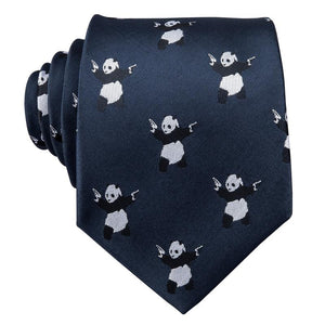 Load image into Gallery viewer, Panda Blue Novelty Men's Tie Pocket Square Cufflinks Set