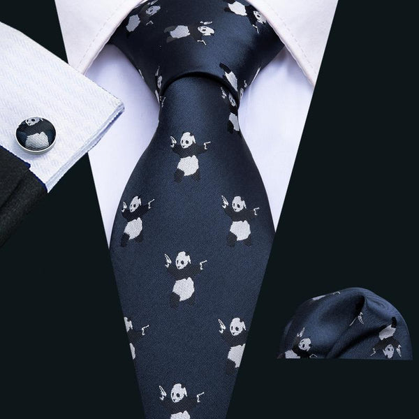 Panda Blue Novelty Men's Tie Pocket Square Cufflinks Set