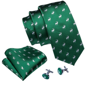 Load image into Gallery viewer, Green Deer Novelty Men's Tie Pocket Square Cufflinks Set