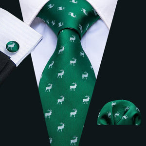 Green Deer Novelty Men's Tie Pocket Square Cufflinks Set