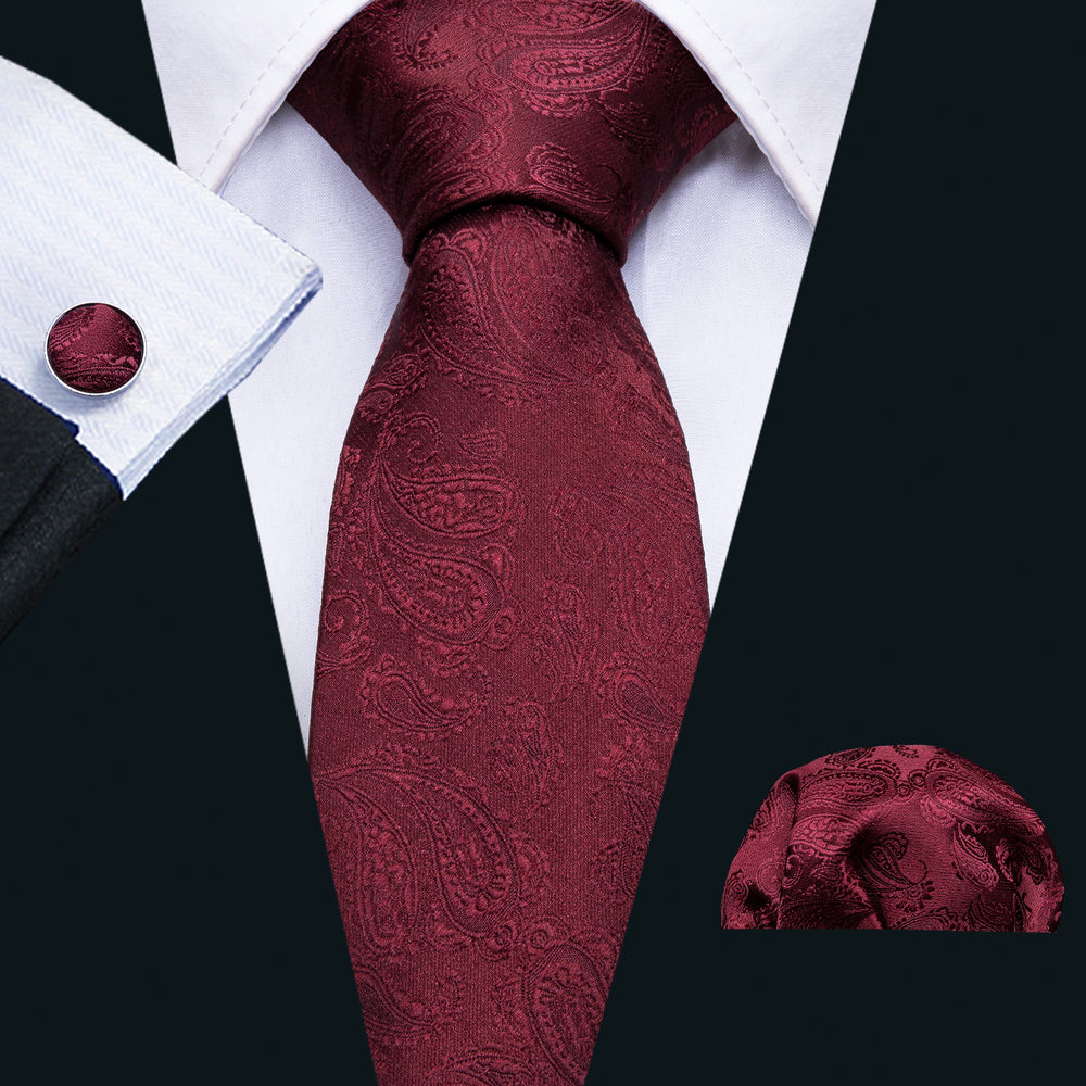 Beautiful Wine Red Paisley Tie Set