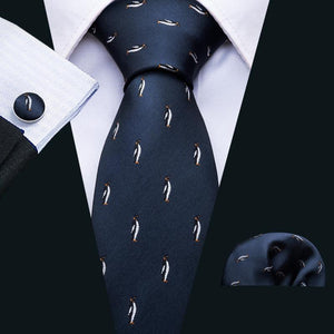 Penguin Blue Novelty Men's Tie Pocket Square Cufflinks Set