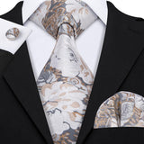 Orange Silver grey Floral Men's Tie Pocket Square Cufflinks Set