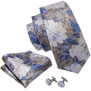 Orange Blue Floral Men's Tie Pocket Square Cufflinks Set
