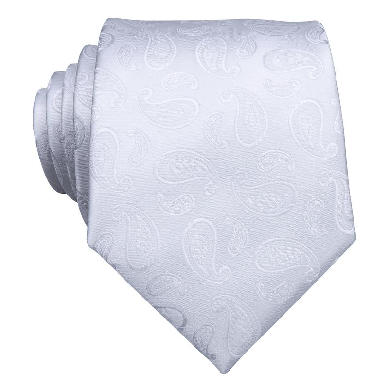 Pure White Paisley Men's Tie Pocket Square Cufflinks Set
