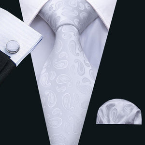 Pure White Paisley Men's Tie Pocket Square Cufflinks Set (1921140424746)