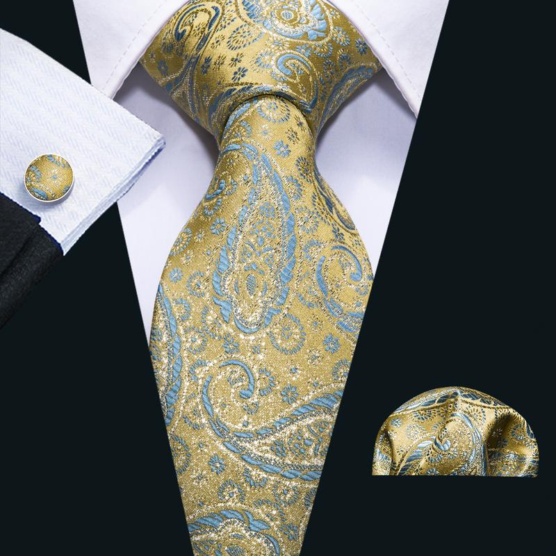 Attractive Orange Blue  Paisley Men's Tie Pocket Square Cufflinks Set
