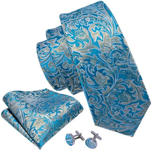 Sea Blue Yellow Floral Men's Tie Pocket Square Cufflinks Set (1921159856170)