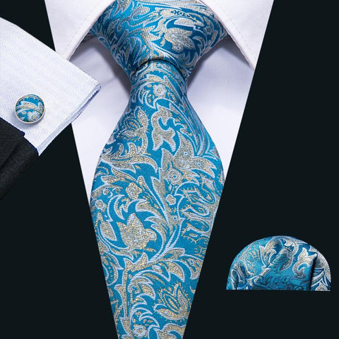 Sea Blue Yellow Floral Men's Tie Pocket Square Cufflinks Set