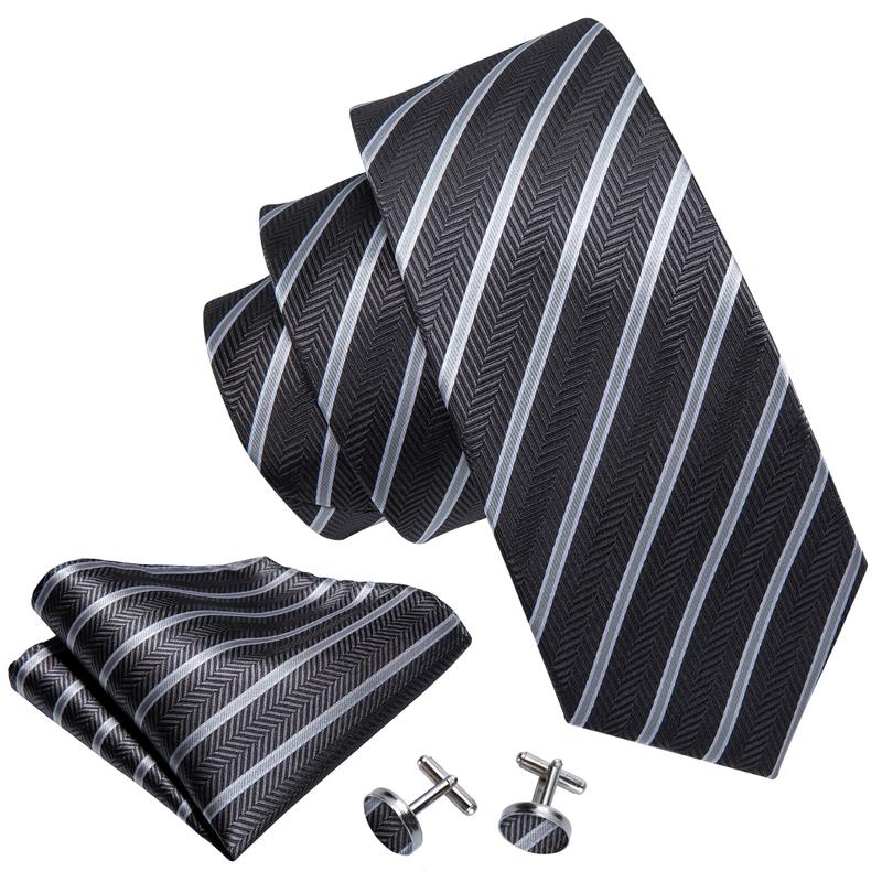 Load image into Gallery viewer, Brown White Striped Men's Tie Pocket Square Cufflinks Set (1922569273386)