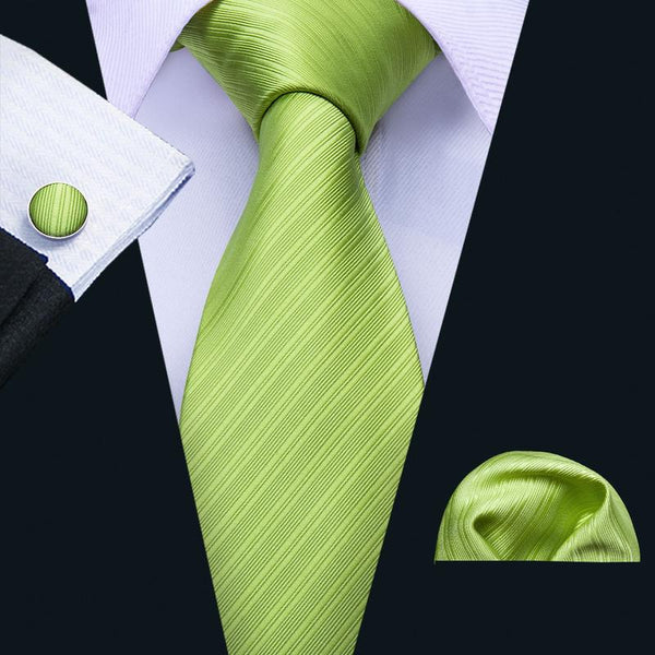 Green Grass Solid Men's Tie Pocket Square Cufflinks Set