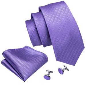Load image into Gallery viewer, Lavender Purple Solid Men's Tie Pocket Square Cufflinks Set
