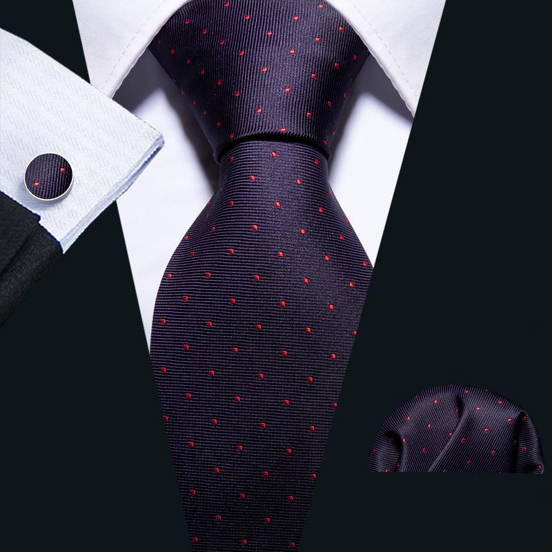 Load image into Gallery viewer, Purple Red Novelty Men's Tie Pocket Square Cufflinks Set