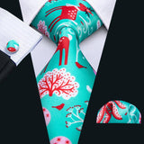 Green Red  Novelty Men's Tie Pocket Square Cufflinks Set