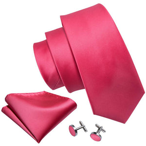 Purplish Red  Solid Men's Tie Pocket Square Cufflinks Set