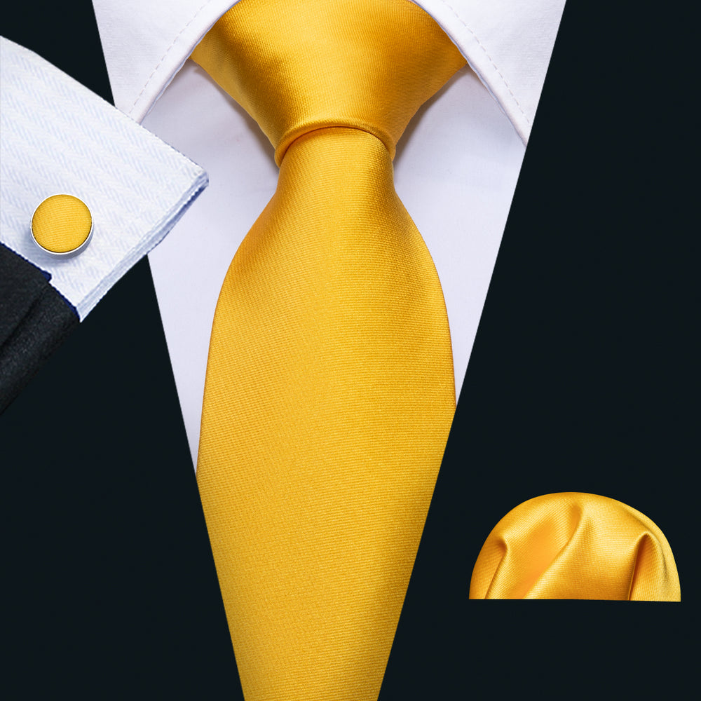Golden Yellow Men's Tie Handkerchief Cufflinks Set
