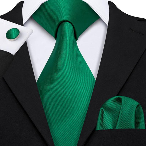 Green Solid Men's Tie Pocket Square Cufflinks Set
