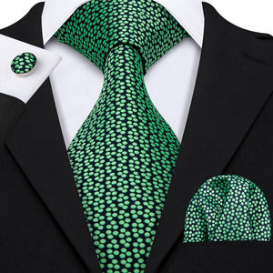 Load image into Gallery viewer, Green Polka Dot Men's Tie Pocket Square Cufflinks Set (1924851793962)