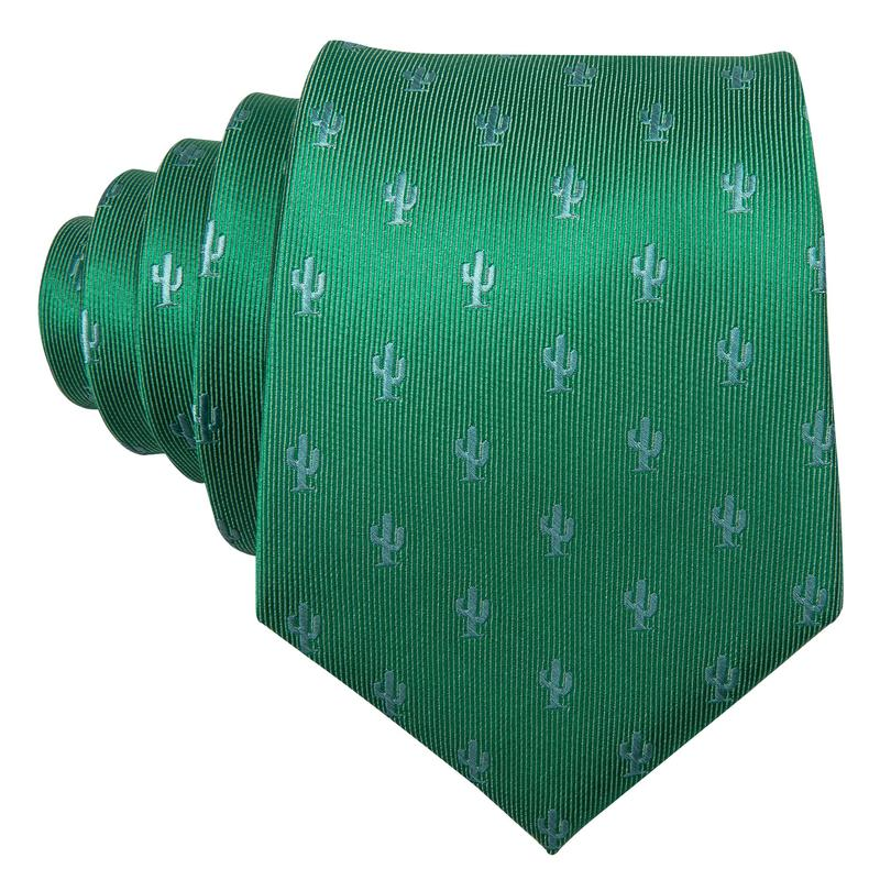 Load image into Gallery viewer, Green  Novelty  Men's Tie Pocket Square Cufflinks Set