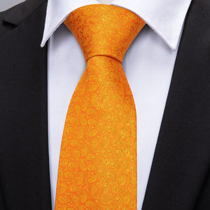 Load image into Gallery viewer, Orange Yellow Paisley Men's Tie Pocket Square Cufflinks Set