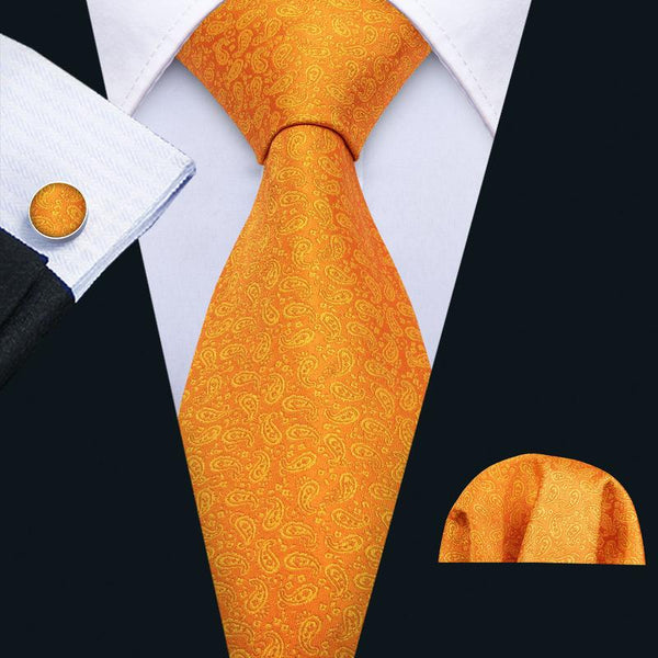 Orange Yellow Paisley Men's Tie Pocket Square Cufflinks Set
