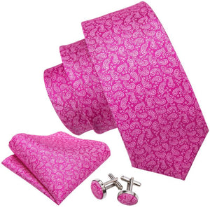 Load image into Gallery viewer, Purplish Red Paisley Men's Tie Pocket Square Cufflinks Set