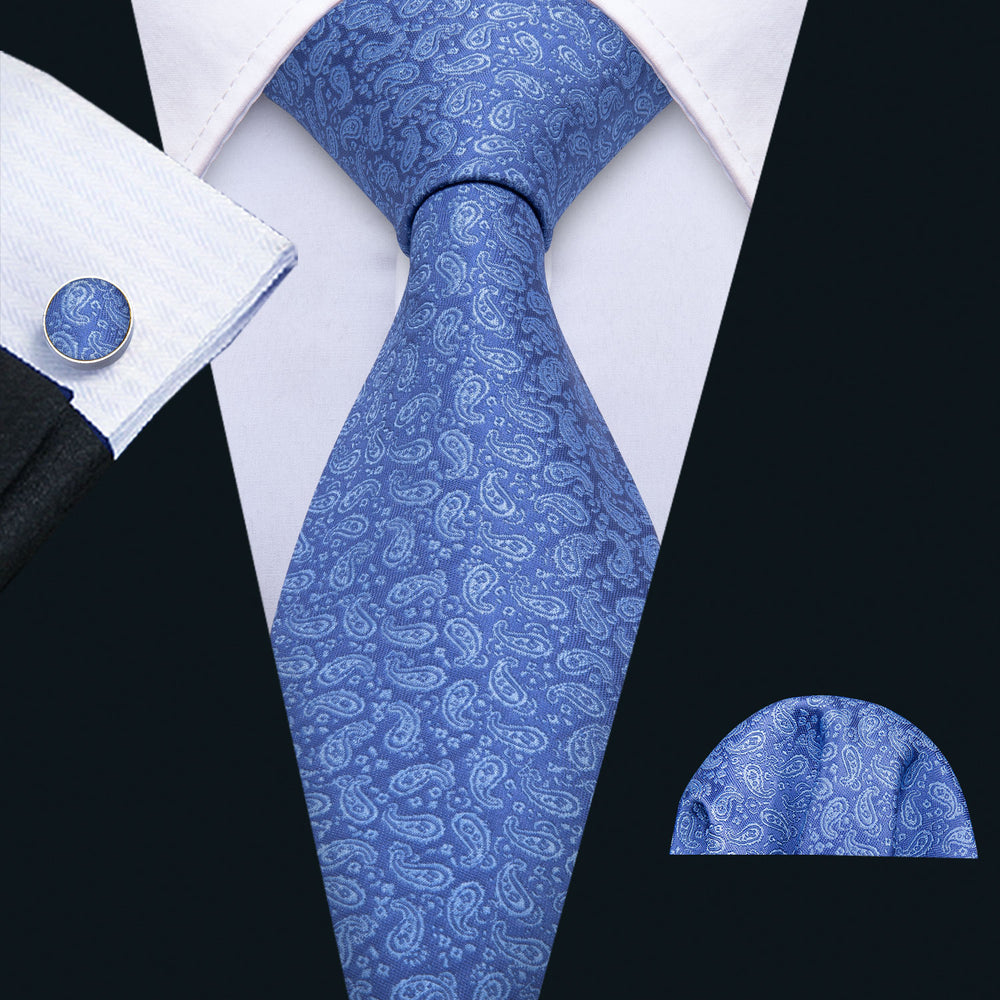Load image into Gallery viewer, Wathet Blue Paisely Tie Hanky Cufflinks Set
