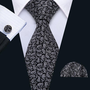 Black White Paisley Men's Tie Pocket Square Cufflinks Set