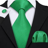 Grass Green Plaid Men's Tie Pocket Square Cufflinks Set