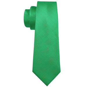 Grass Green Plaid Men's Tie Pocket Square Cufflinks Set (1929357393962)
