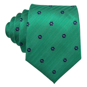 Blue Flowers Green Novelty Men's Tie Pocket Square Cufflinks Set