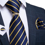 Blue Yellow Striped Men's 4PCS Silk Tie Pocket Square Cufflinks with Tie Ring Set