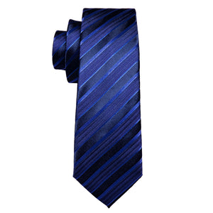 Deep Blue Striped Men's Tie Handkerchief Cufflinks Set