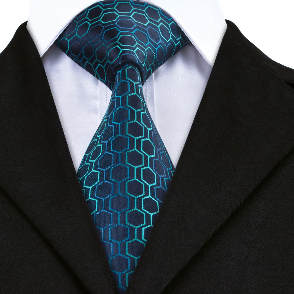 Novelty Blue Geometric Plaid Single Tie