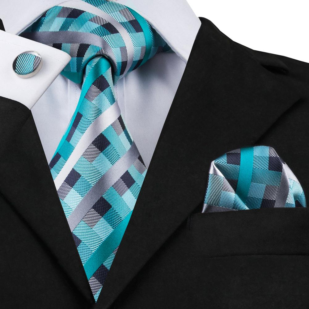 Teal Plaid Necktie Pocket Square Cufflinks Set