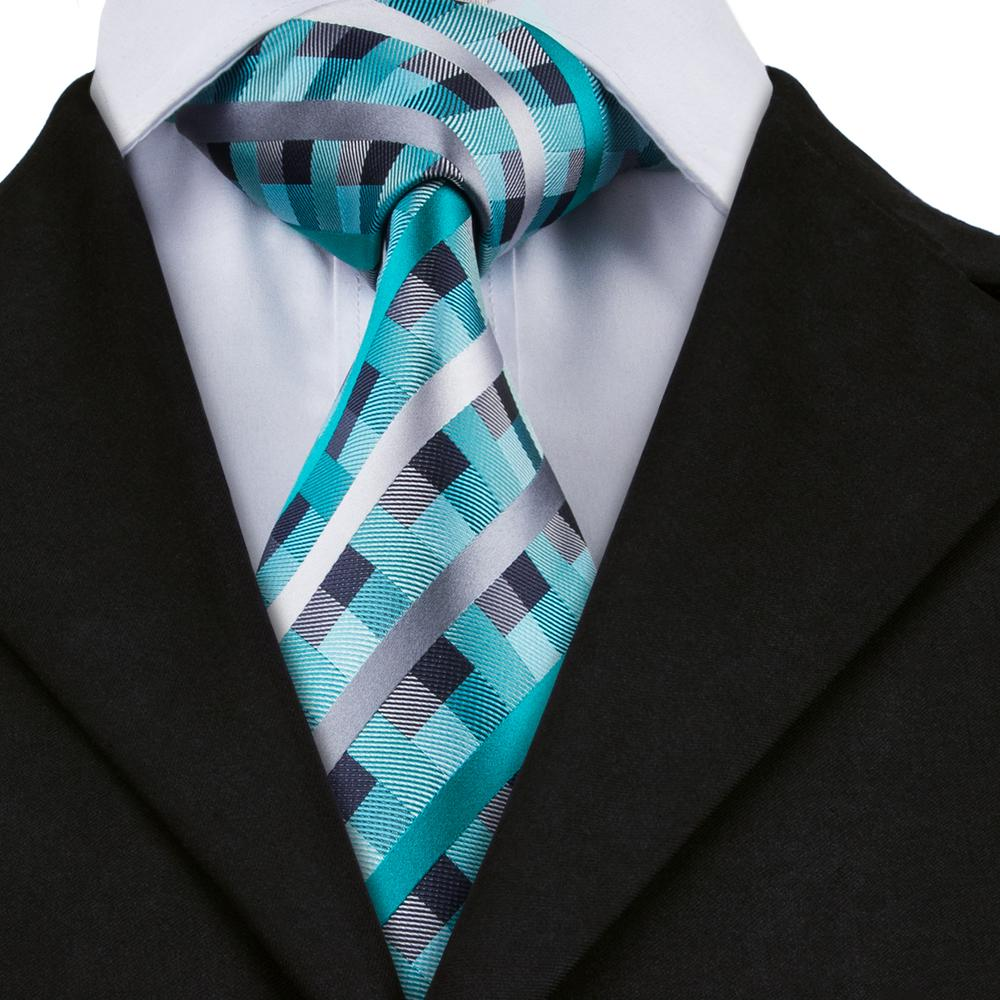 Load image into Gallery viewer, Luxury Blue Grey Plaid Single Tie