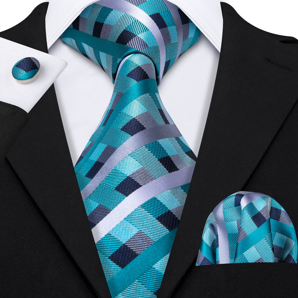 Load image into Gallery viewer, Teal Plaid Necktie Pocket Square Cufflinks Set