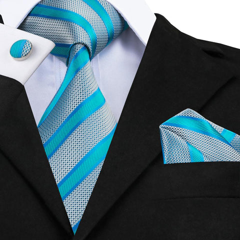 Awesome Blue Striped Tie Pocket Square Cufflinks Set