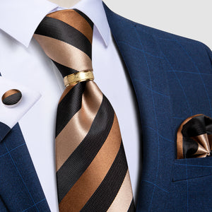4PCS Brown Black Striped Men's Silk Tie Pocket Square Cufflinks with Tie Ring Set