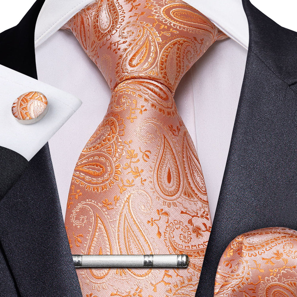 Load image into Gallery viewer, Orange Paisley Men's Tie Handkerchief Cufflinks Clip Set