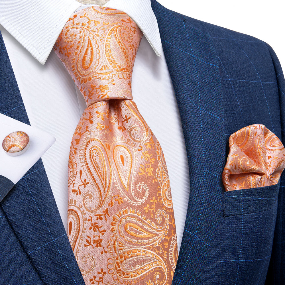 Light Orange Paisley Men's Tie Handkerchief Cufflinks Set with Tie Tack