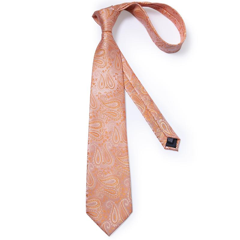 Orange Paisley Men's Tie Handkerchief Cufflinks Clip Set
