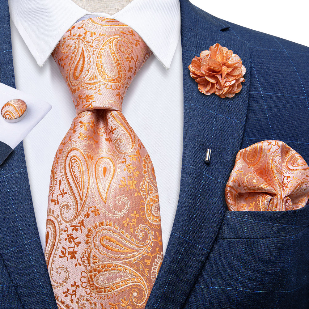 Load image into Gallery viewer, Preferred Wedding Orange Tie  Set With Lapel Pin