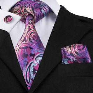 Load image into Gallery viewer, Red Purple Tie Pocket Square Cufflinks Set (578050687018)